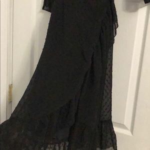 Boohoo Dresses - Black with black polka dot wrap dress